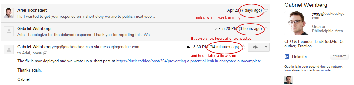 Contact with DuckDuckGo about breach