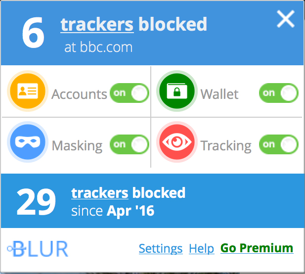 Recommended Firefox security extensions: Blur