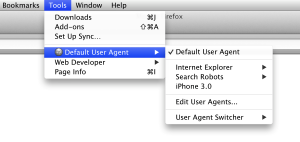 Recommended Firefox security extensions: User Agent Switcher