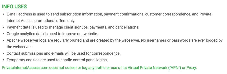 VPN Privacy Policies: PIA