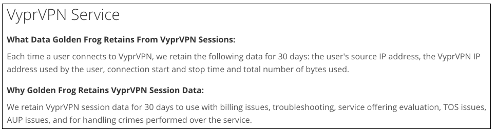 VPN Privacy Policies: VyprVPN's Privacy Policy