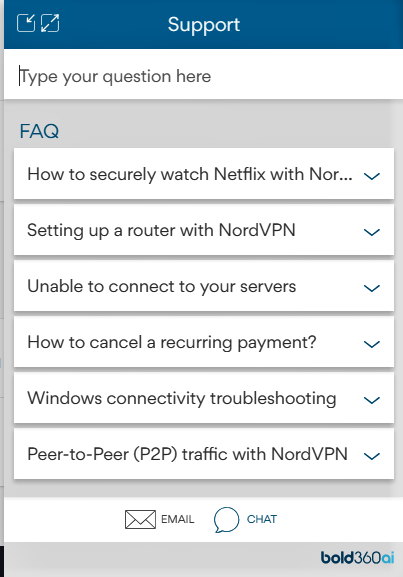 Customer support NordVPN