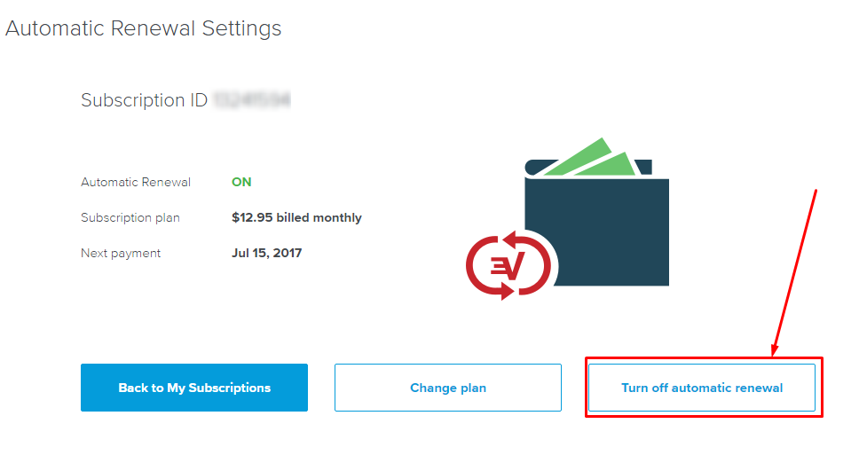 Turn off automatic renewal-ExpressVPN account