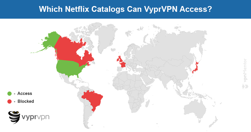 VyprVPN Netflix map