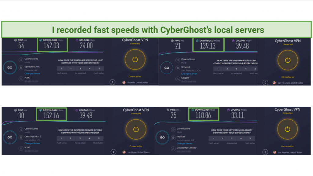 Screenshot of speed tests done on Ookla with CyberGhost