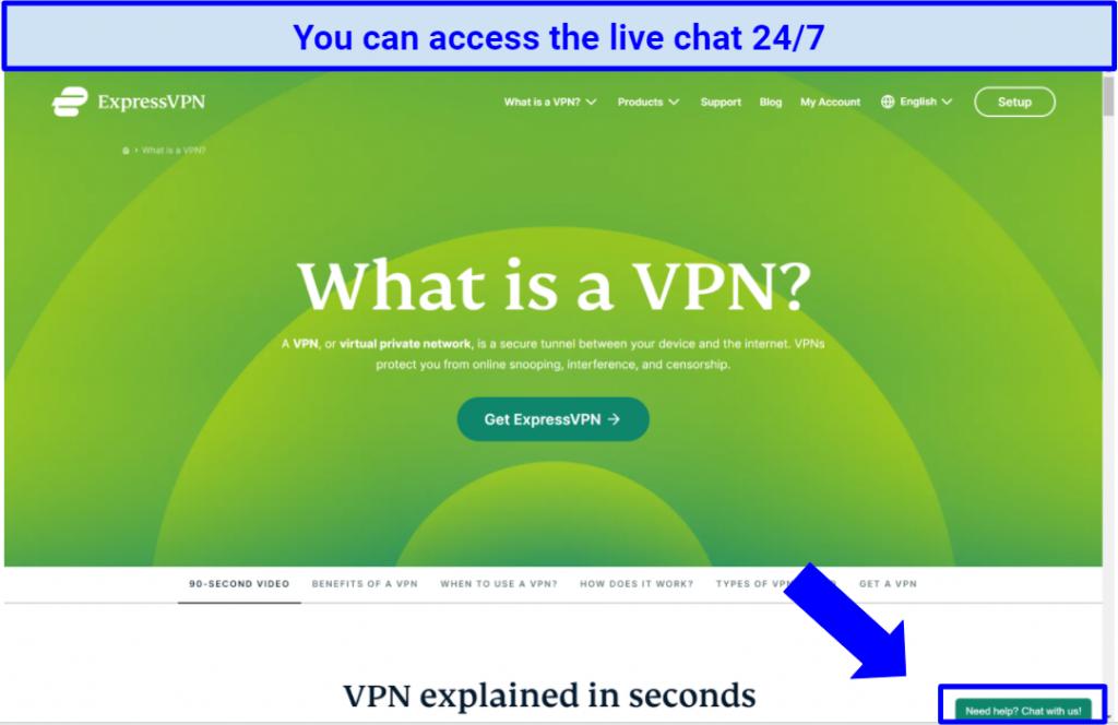 Screenshot of the ExpressVPN website highlighting the live chat button