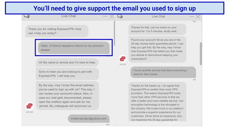 Screenshot of ExpressVPN chat requesting a refund