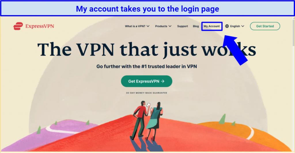 Screenshot of ExpressVPN site highlighting My Account button