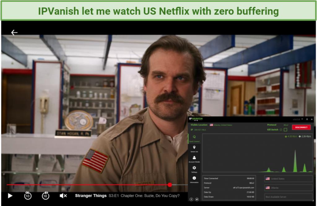 creenshot of Stranger Things streaming on Netflix player unblocked with IPVanish