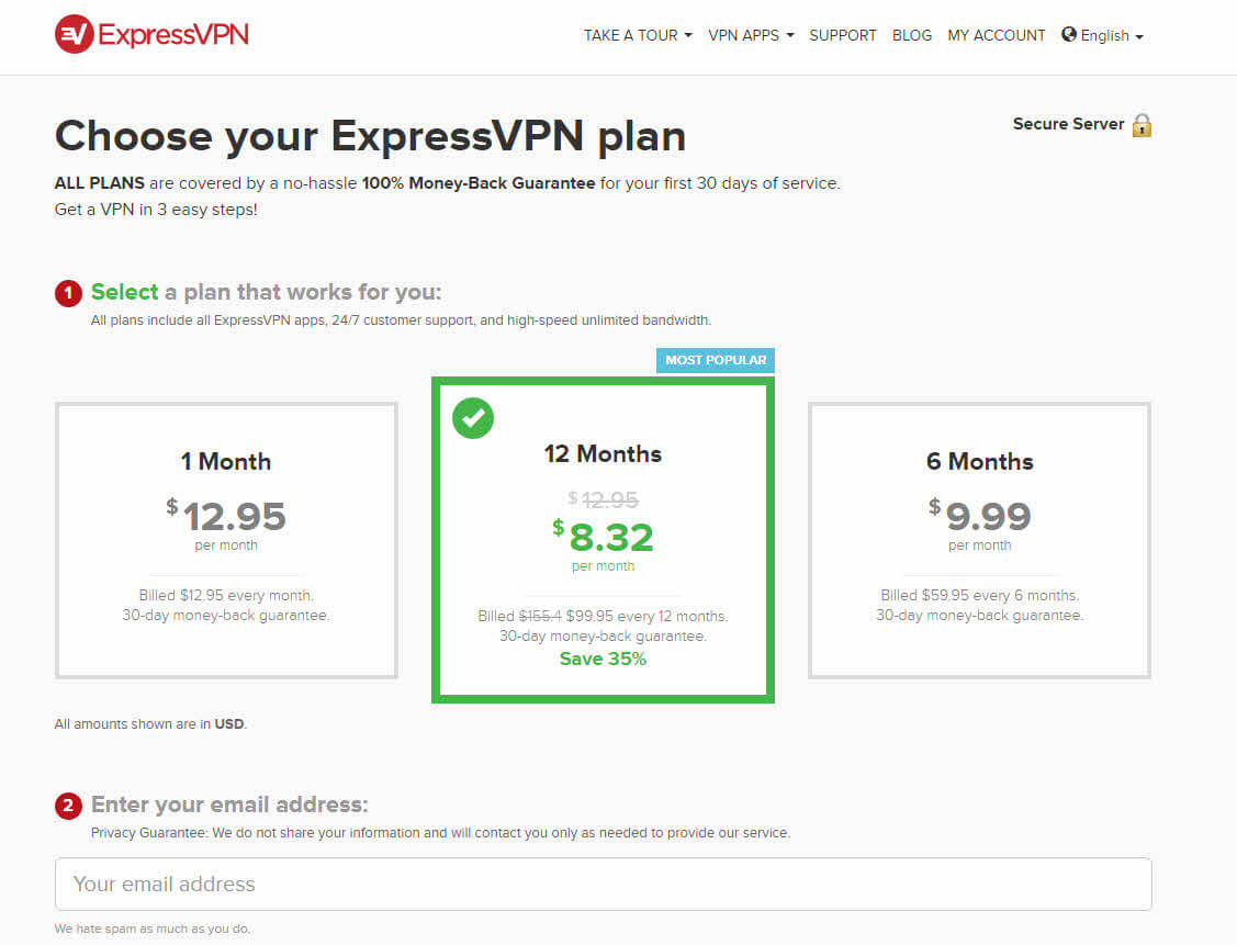 screenshot of ExpressVPN's plans and pricing