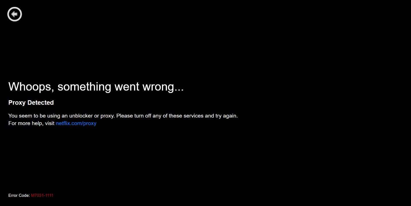 Netflix error screen