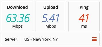 Speed test on an Astrill VPN server in the US