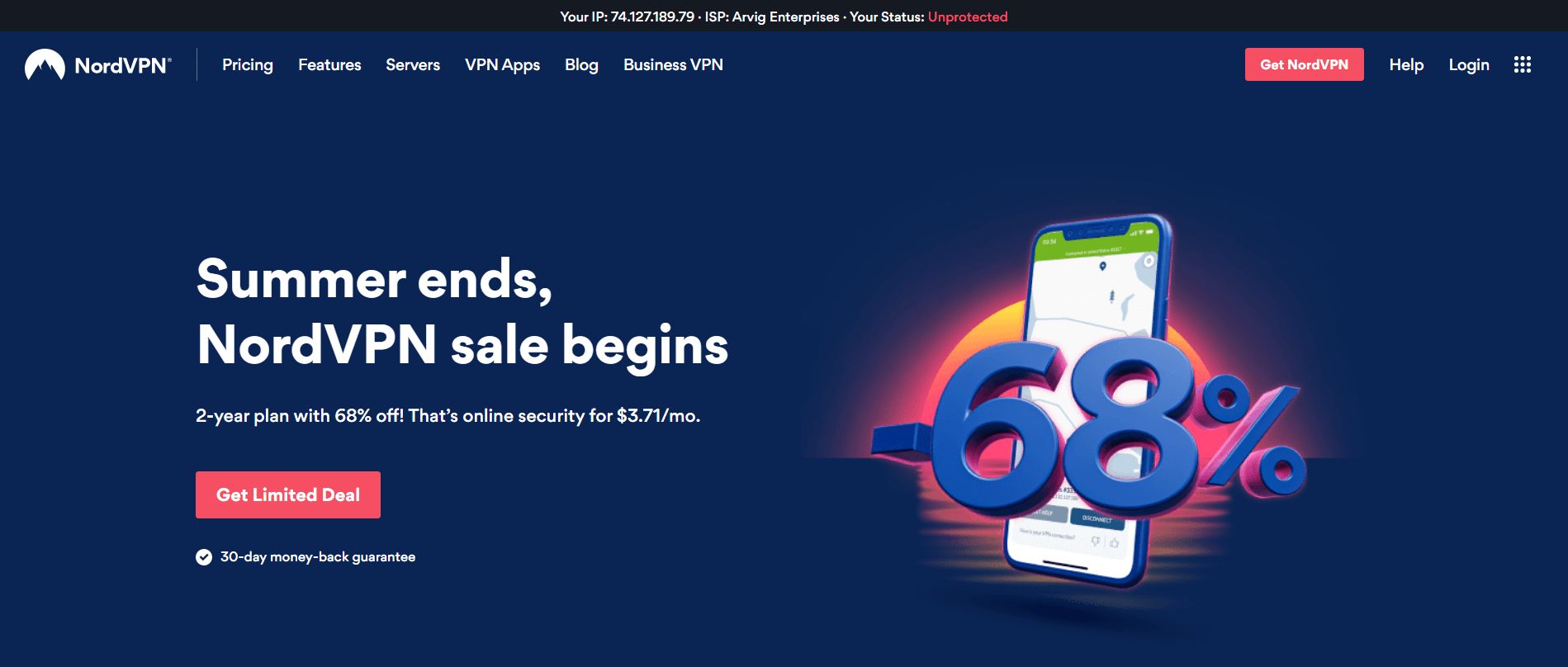 screenshot of NordVPN's homepage