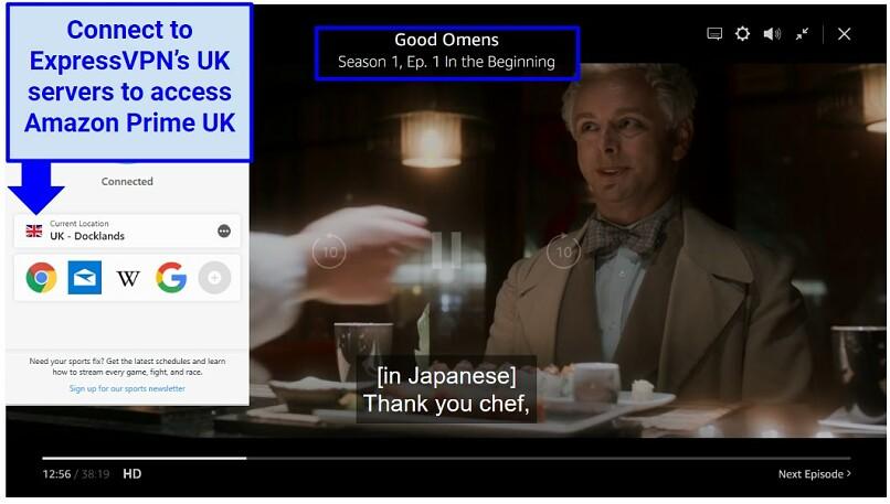 Amazon Original show Good Omens playing alongside ExpressVPN connecting to UK servers