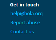 Screenshot of Hola's contact information
