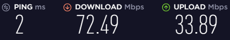 Speeds before connecting to a VPN