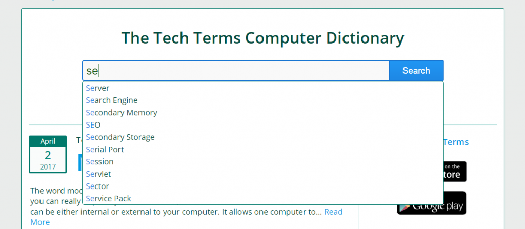 techterms auto-complete