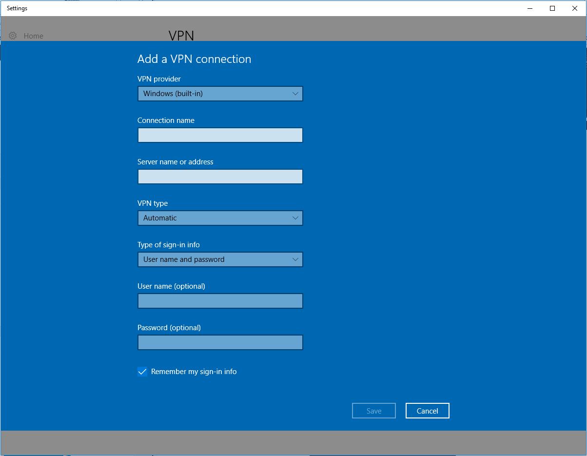 VPN Connection Windows 10