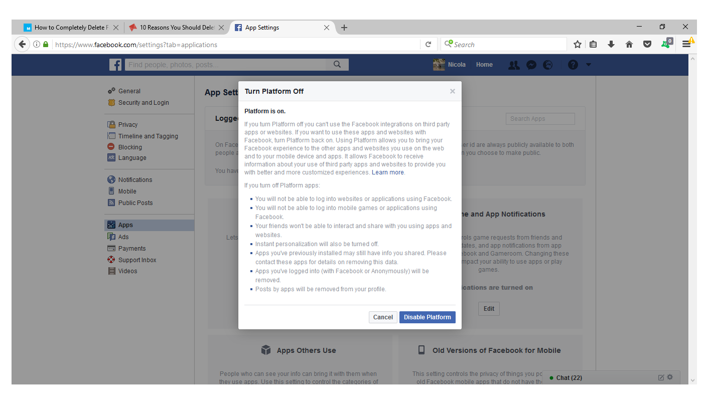How to unregister facebook