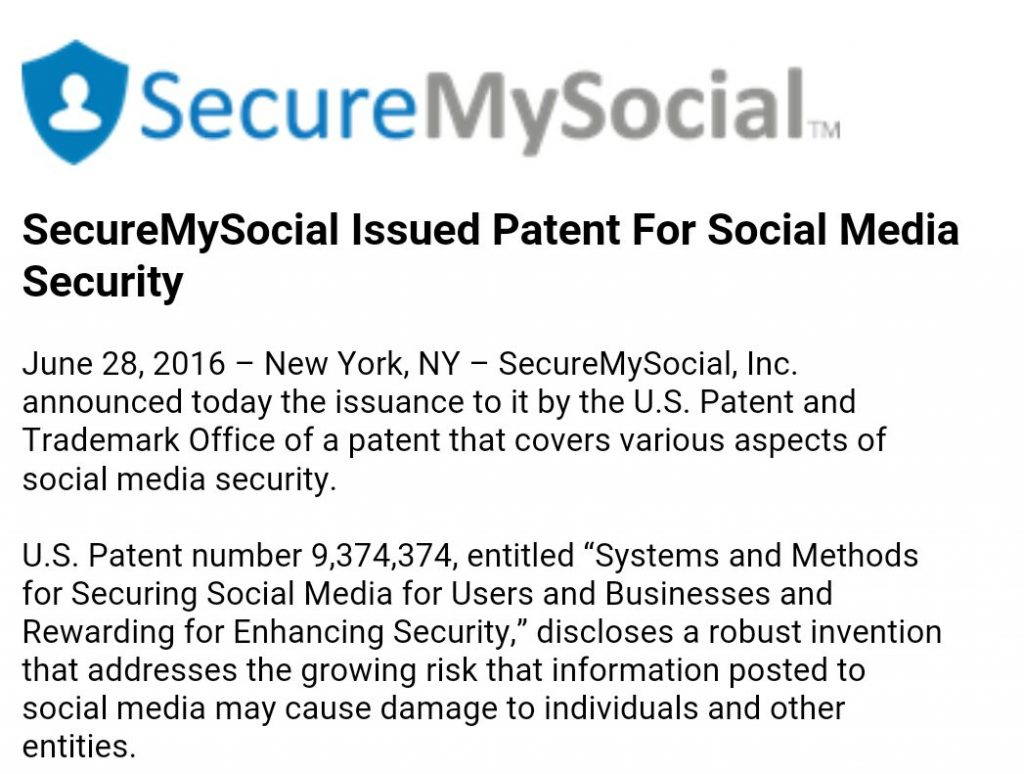 securemysocial patent