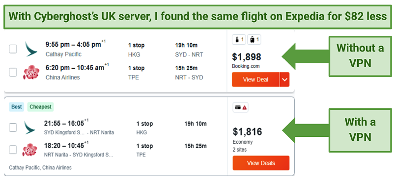 Screenshot showing flight price comparisons on Expedia, without a VPN and with Cyberghost connected to a UK server