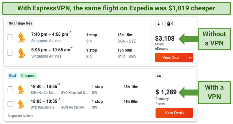 Screenshot showing a flight price comparison from expedia.com, first without using a VPN, then, while connected to ExpressVPN