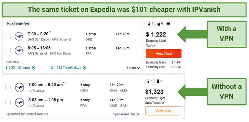 screenshot showing flight price comparisons on Expedia, without a VPN and with IPVanish connected to a German server
