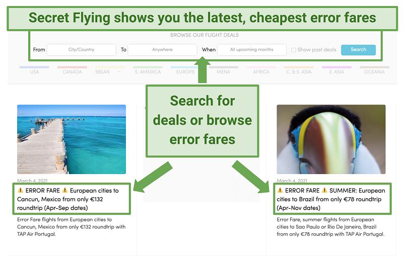 Screenshot showing error fares listed on secretflying.com