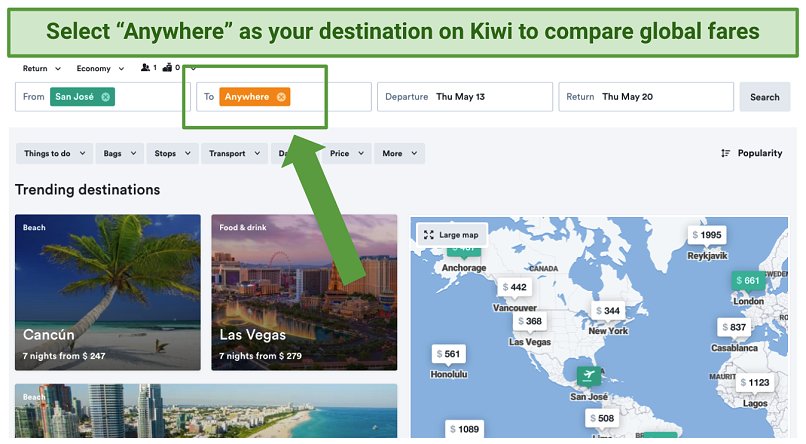 Screenshot showing global flight price comparisons on kiwi.com after entering