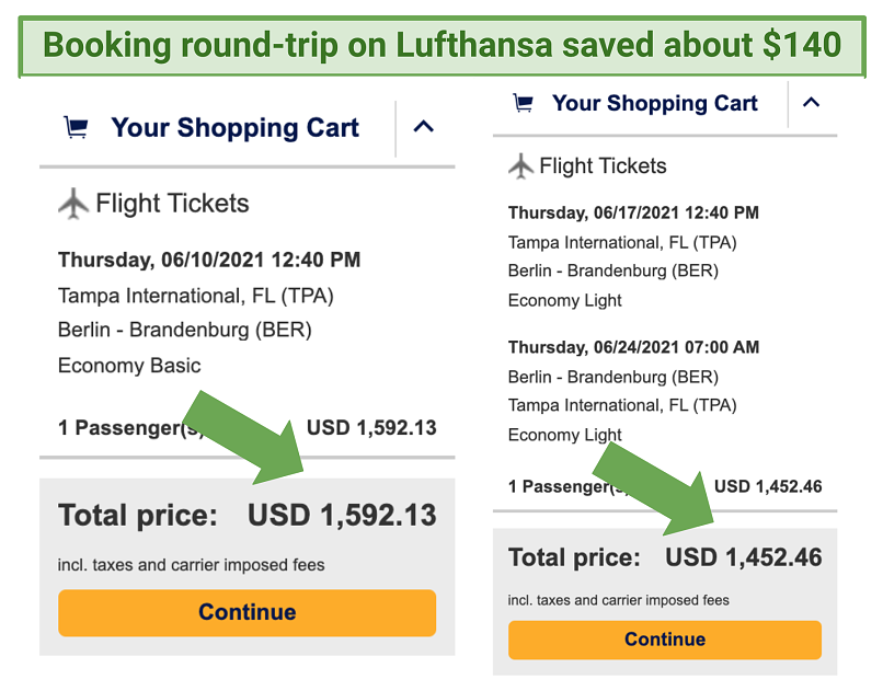 Screenshot showing Lufthansa's price difference between round-trip and one-way tickets