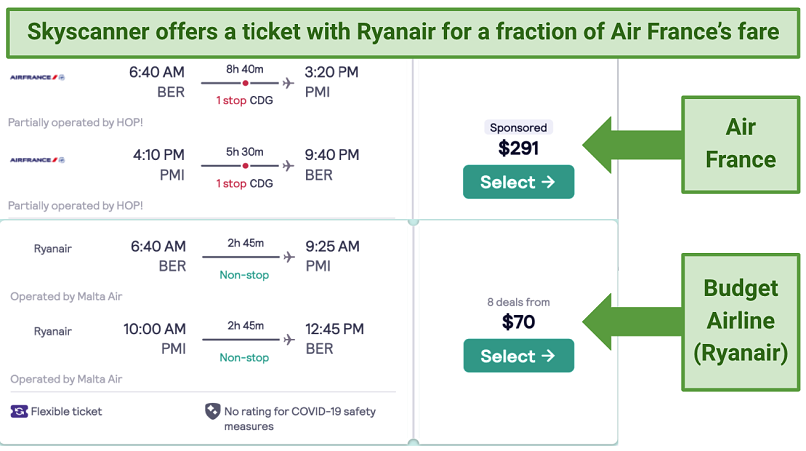 Screenshot showing flight comparisons on Skyscanner between Air France and Ryanair