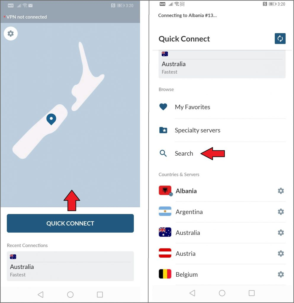 Screenshots of NordVPN's UI
