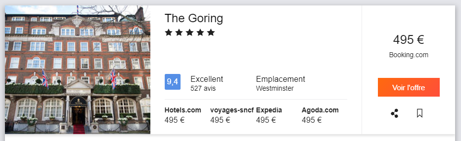 The Goring, pricing from Paris