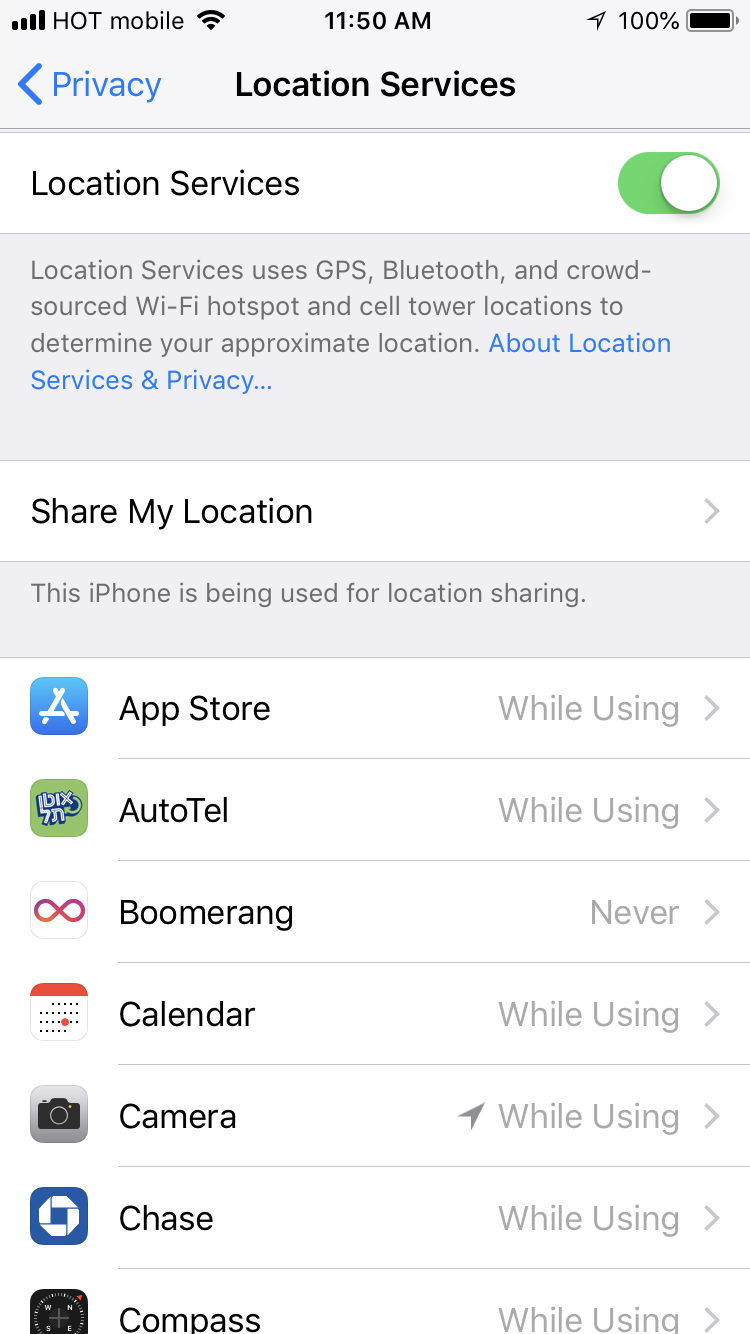Location Services interface