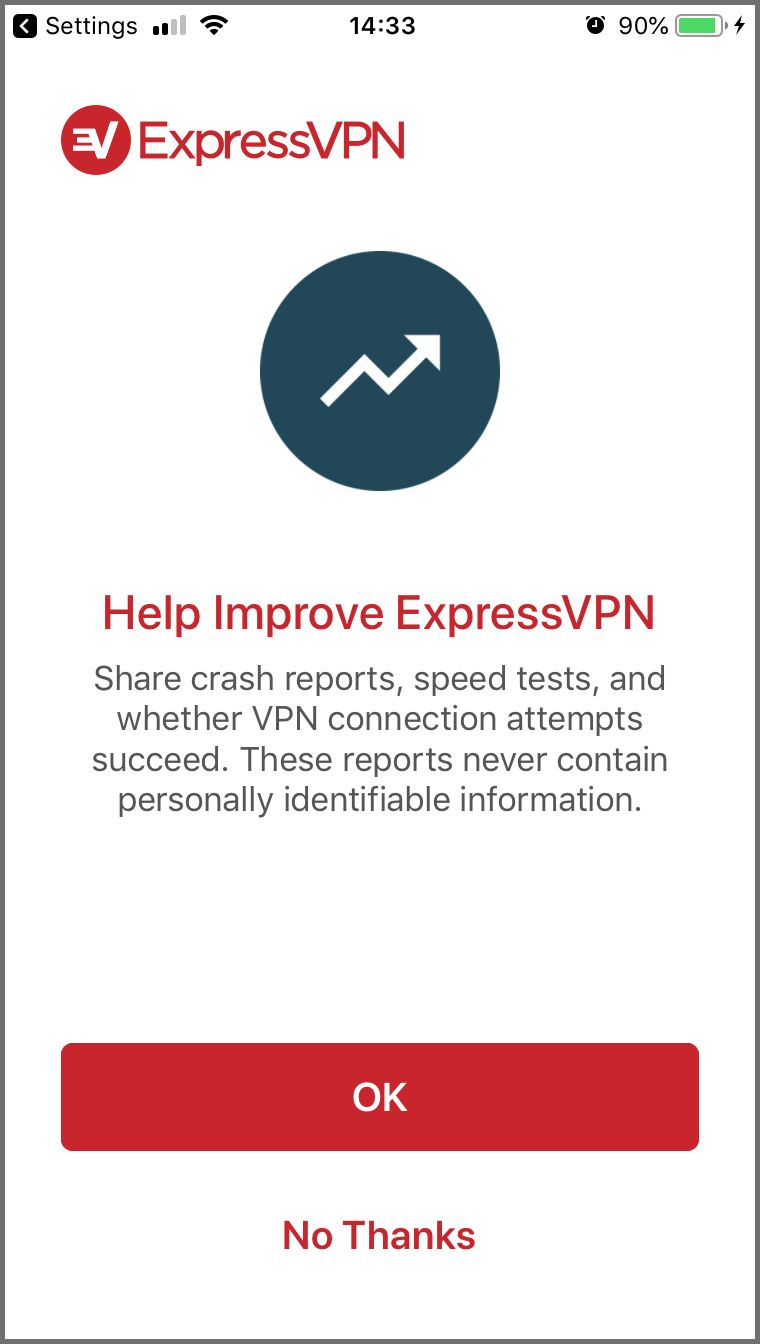 Option to help improve ExpressVPN