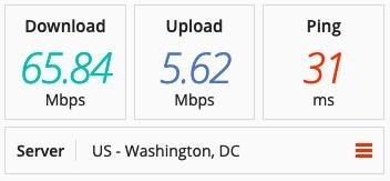 Screenshot of a speed test on a US server