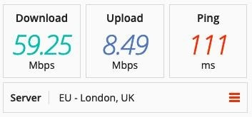 Screenshot of PrivateVPN speed test on a UK server