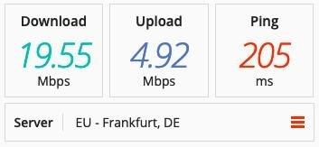 PrivateVPN speed test on a Denmark server