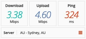 Screenshot of PrivateVPN speed test on an Australian server