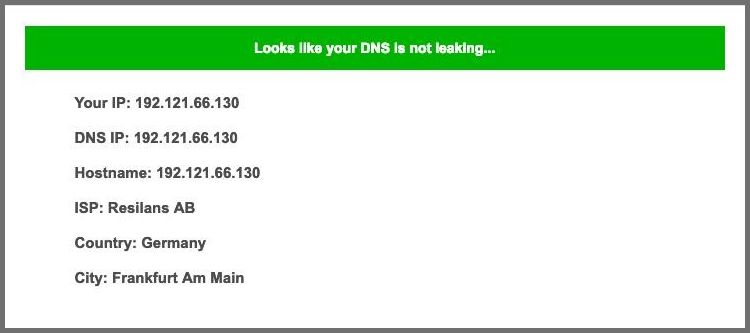 Screenshot of PrivateVPN's DNS leak test
