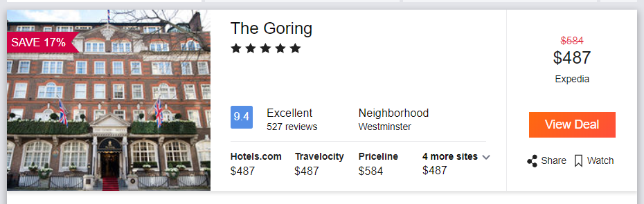 The Goring, pricing from America