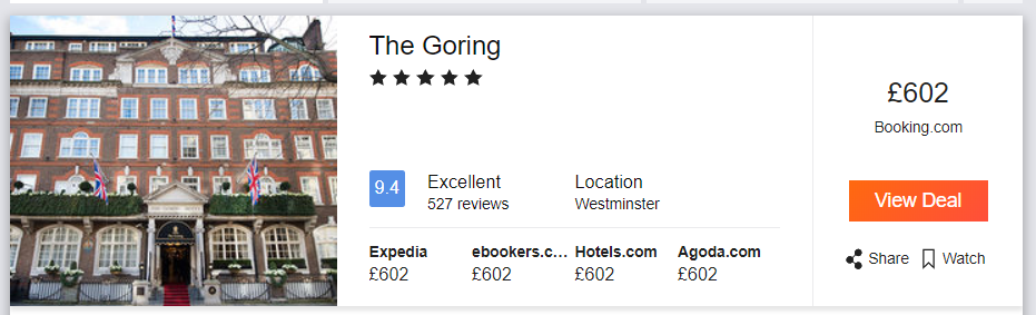 The Goring, pricing from London