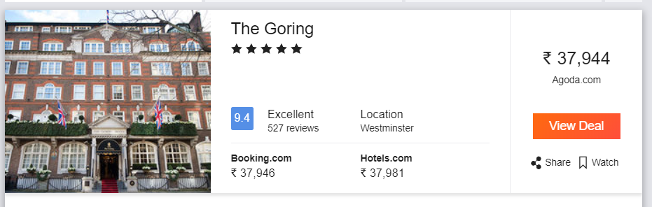 The Goring, pricing from India
