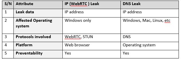DNS leak table