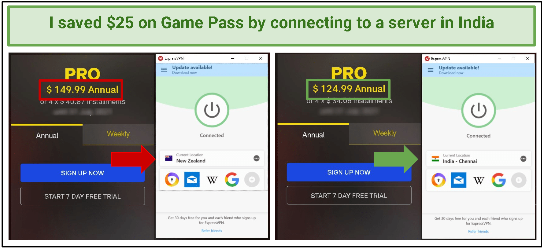 A screenshot of the price difference between the Indian Game Pass plan and the New Zealand Game Pass plan.