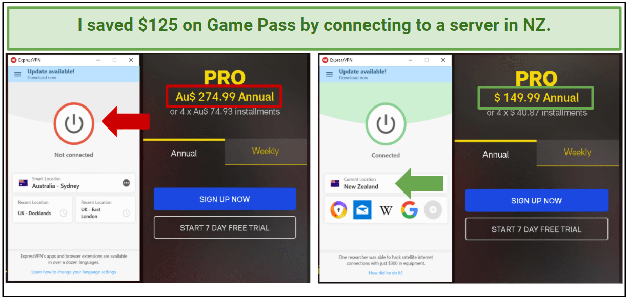 A screenshot of the price difference between the Australian Game Pass plan and the New Zealand Game Pass plan.