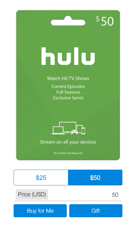 Hulu gift card screenshot