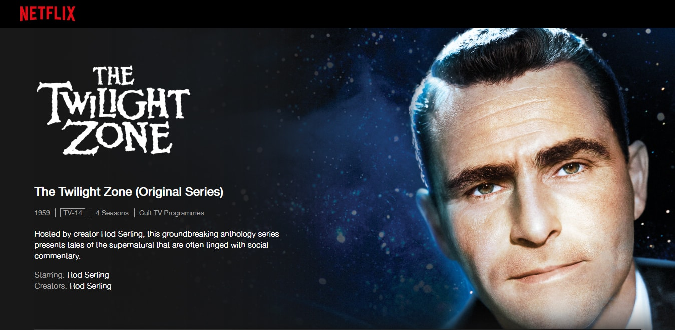 A screenshot of The Twilight Zone on Netflix.