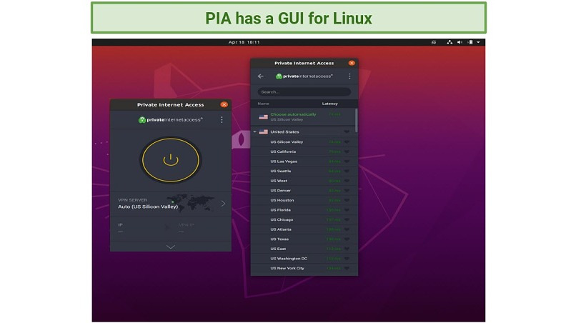 Screenshot of Private Internet Access Graphical User Interface on Linux
