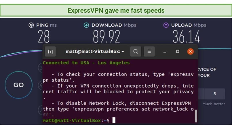 Screenshot of Ookla Speed Test done with ExpressVPN connected to Los Angeles server with Linux CLI